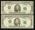 Error Notes:Skewed Reverse Printing, Two Richmond $5 FRN's with Skewed Backs. Very Fine or Better.. ...(Total: 2 notes)