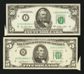 Error Notes:Attached Tabs, Fr. 1976-B $5 1981 Federal Reserve Note. VF+. Fr. 2119-I $50 1977Federal Reserve Note. VF.. ... (Total: 2 notes)