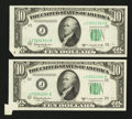 Error Notes:Foldovers, Fr. 2014-J $10 1950D Federal Reserve Notes. Two ConsecutiveExamples. Crisp Uncirculated or Better.. ... (Total: 2 notes)