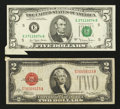 "Error Notes:Attached Tabs, $2 Legal and $5 FRN with ""Butterflies."" Fine-Very Fine or Better..... (Total: 2 notes)"