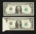 Error Notes:Foldovers, Fr. 1901-A $1 1963A Federal Reserve Notes. Two ConsecutiveExamples. Choice Crisp Uncirculated.. ... (Total: 2 notes)
