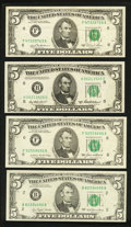 Error Notes:Ink Smears, Ink Smear $5 Federal Reserve Notes. Very Fine or Better.. ...(Total: 4 notes)