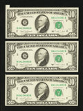 Error Notes:Attached Tabs, Fr. 2028-B $10 1988A Federal Reserve Notes. Three ConsecutiveExamples. Choice About Uncirculated or Better.. ... (Total: 3notes)