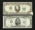 Error Notes:Foldovers, Fr. 1962-L $5 1950A Federal Reserve Note. VF. Fr. 2074-F $20 1981AFederal Reserve Note. XF.. ... (Total: 2 notes)
