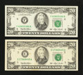 Error Notes:Ink Smears, Fr. 2079-C $20 1993 Federal Reserve Note. VF. Fr. 2079-F $20 1993Federal Reserve Note. Gem CU.. ... (Total: 2 notes)