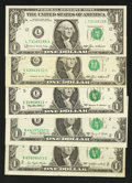 Error Notes:Shifted Third Printing, $1 Federal Reserve Notes. Fine or Better.. ... (Total: 5 notes)