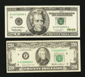 Error Notes:Ink Smears, Fr. 2075-F $20 1985 Federal Reserve Note. Fine-VF. Fr. 2084-H $201996 Federal Reserve Note. Gem CU.. ... (Total: 2 notes)