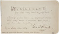 "Autographs:Authors, George Frederick Root Autograph Musical Quotation Signed. One page,7"" x 4"", Hyde Park, Illinois, 1881. Below the first two ..."