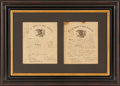 """Autographs:Military Figures, Civil War: Union Soldiers' Discharge Certificates (Two), framed together. Each is one page and 8.5"""" x 10.5"""" (sight). One, is..."""