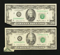 Error Notes:Foldovers, Fr. 2075-A $20 1985 Federal Reserve Note. Fine. Fr. 2075-D $20 1985Federal Reserve Note. VF.. ... (Total: 2 notes)