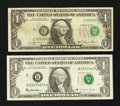 Error Notes:Shifted Third Printing, Fr. 1911-C $1 1981 Federal Reserve Note. Fine-VF. Fr. 1921-B $1 1995 Federal Reserve Note. VF-XF.. ... (Total: 2 notes)