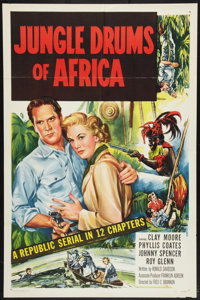 "Jungle Drums of Africa (Republic, 1952). One Sheet (27"" X 41"") Flat Folded. Serial"