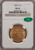 Liberty Eagles: , 1888-S $10 MS62 NGC. CAC. NGC Census: (461/72). PCGS Population(425/112). Mintage: 648,700. Numismedia Wsl. Price for prob...
