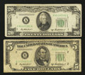 Error Notes:Obstruction Errors, Fr. 1963-B $5 1950B Federal Reserve Note. Very Good;. Fr. 2061-A$20 1950B Federal Reserve Note. Fine-Very Fine.. ... (Total: 2notes)