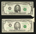 Error Notes:Attached Tabs, Fr. 1973-K $5 1974 Federal Reserve Note. About Uncirculated;. Fr.1980-C $5 1988A Federal Reserve Note. Fine-Very Fine.. ... (Total:2 notes)