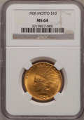 Indian Eagles: , 1908 $10 Motto MS64 NGC. NGC Census: (175/110). PCGS Population(175/102). Mintage: 341,300. Numismedia Wsl. Price for prob...