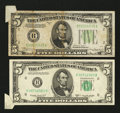 Error Notes:Attached Tabs, Fr. 1957-B $5 1934A Federal Reserve Note. Very Fine-ExtremelyFine;. Fr. 1964-H $5 1950C Federal Reserve Note. Extremely Fine....(Total: 2 notes)