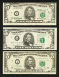 Error Notes:Error Group Lots, Fr. 1972-A $5 1969C Federal Reserve Note. Very Fine;. Fr. 1976-B $51981 Federal Reserve Note. Very Fine;. Fr. 1976-L ... (Total: 3notes)