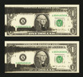 Error Notes:Ink Smears, Fr. 1921-A $1 1995 Federal Reserve Notes. Two Examples. Very ChoiceCrisp Uncirculated.. ... (Total: 2 notes)