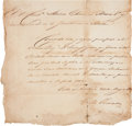 "Autographs:Statesmen, Horatio Chriesman Signed Mexican Passport Granting Safe Passage tothe United States. One page, 8"" x 8.25"", ""Villa de Aust..."