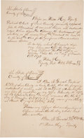 "Autographs:Statesmen, Loyal Valley, 1873: John O. Meusebach Land Sale Signed. Two pages,8.5"" x 14"", Loyal Valley, Mason County, Texas, July 8, 18..."