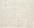 """Autographs:Military Figures, Letter Signed by Twenty-Two Prominent Texas Ranchers Warning Two Suspected Cattle Rustlers to Beware. Three pages, 7.75"""" x 1..."""