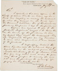 "Autographs:Military Figures, Confederate Texas: R. W. Graham Autograph Letter Signed. One page,7.75"" x 9.75, Seguin, Texas, January 31, 1864, on ""Post..."