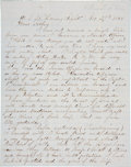 """Autographs:Military Figures, Civil War: Henry W. Washburn Partial Autograph Letter. Four pages, 7.75"""" x 10"""", onboard the USS Morning Light along the ..."""