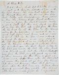 """Autographs:Military Figures, First Battle of Galveston Bay: Henry W. Washburn Autograph Letter Signed. Four lined pages, 8"""" x 10"""", Galveston, October 6, ..."""