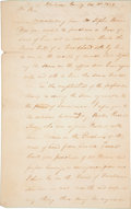 """Autographs:Military Figures, [Jim Bowie]. William King Autograph Letter Signed. One and one-quarter pages, 7.5"""" x 12"""", Claiborne County, Mississippi, Oct..."""