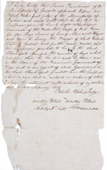 Autographs:Military Figures, [Red Rovers]. February 1836 Document. Judge Patrick Usher hassigned this document certifying that a local volunteer had los...