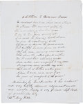 "Autographs:Statesmen, Sam Houston Autograph Manuscript Signed. One page, 8"" x 10"", n.p., May 13, 1832. Houston writes and dedicates this poem, an ..."