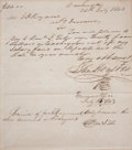 "Autographs:Statesmen, Sam Houston Autograph Document Signed as the third president of theRepublic of Texas. One page, 7.75"" x 8.5"", Washington, J..."