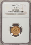 Liberty Quarter Eagles: , 1868-S $2 1/2 XF45 NGC. NGC Census: (32/162). PCGS Population(17/59). Mintage: 34,000. Numismedia Wsl. Price for problem f...