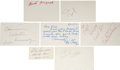 Miscellaneous Collectibles:General, Sports Legends Signed Index Cards and Government Postcards....