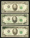 Error Notes:Ink Smears, Fr. 2077-B $20 1990 Federal Reserve Notes. Extremely Fine. ThreeExamples.. ... (Total: 3 notes)