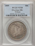 Bust Half Dollars, 1809 50C Normal Edge VF20 PCGS. Ex: Witham Collection. O-106. PCGSPopulation (11/450). NGC Census: (8/414). Mintage: 1,405...