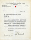Baseball Collectibles:Others, 1951 Thomas Yawkey Signed Letter....