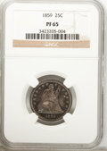 Proof Seated Quarters: , 1859 25C PR65 NGC. NGC Census: (18/18). PCGS Population (7/5).Mintage: 800. Numismedia Wsl. Price for problem free NGC/PCG...