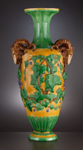 Ceramics & Porcelain, British:Antique  (Pre 1900), AN ENGLISH MAJOLICA RAM'S HEAD VASE . Attributed to Minton, Stoke-on-Trent, Staffordshire, England, circa 1856. Marks: (date...