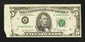 Error Notes:Foldovers, Fr. 1975-K $5 1977A Federal Reserve Note. Very Fine.. ...