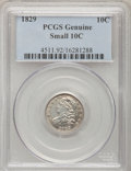 Bust Dimes, 1829 10C Small 10C PCGS Genuine. The PCGS number ending in .92suggests Cleaning as the reason, or perhaps one of the reaso...