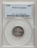 Early Dimes, 1801 10C PCGS Genuine. The PCGS number ending in .98 suggestsDamage as the reason, or perhaps one of the reasons, that PCG...