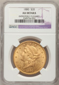 Liberty Double Eagles: , 1880 $20 --Improperly Cleaned--NGC Details. AU. NGC Census:(23/274). PCGS Population (107/162). Mintage: 51,456. Numismedia...