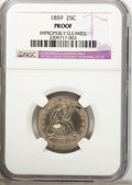 Proof Seated Quarters: , 1859 25C --Improperly Cleaned--NGC Details. Proof. NGC Census:(0/124). PCGS Population (5/137). Mintage: 800. Numismedia Ws...