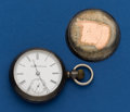 Timepieces:Pocket (post 1900), Elgin, 18 Size, Silver With Gold Bull Inlay. ...