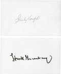 Baseball Collectibles:Others, Hank Greenberg and Sandy Koufax Signed Index Cards Lot of 2....