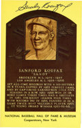 Autographs:Post Cards, Sandy Koufax Signed Gold Hall Of Fame Plaque....