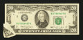 Error Notes:Foldovers, Fr. 2077-B $20 1990 Federal Reserve Note. Very Fine.. ...
