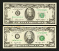 Error Notes:Inking Errors, Fr. 2075-B $20 1985 Federal Reserve Note. Very Choice Crisp Uncirculated.. Fr. 2079-E $20 1993 Federal Reserve Note. Crisp Unc... (Total: 2 notes)